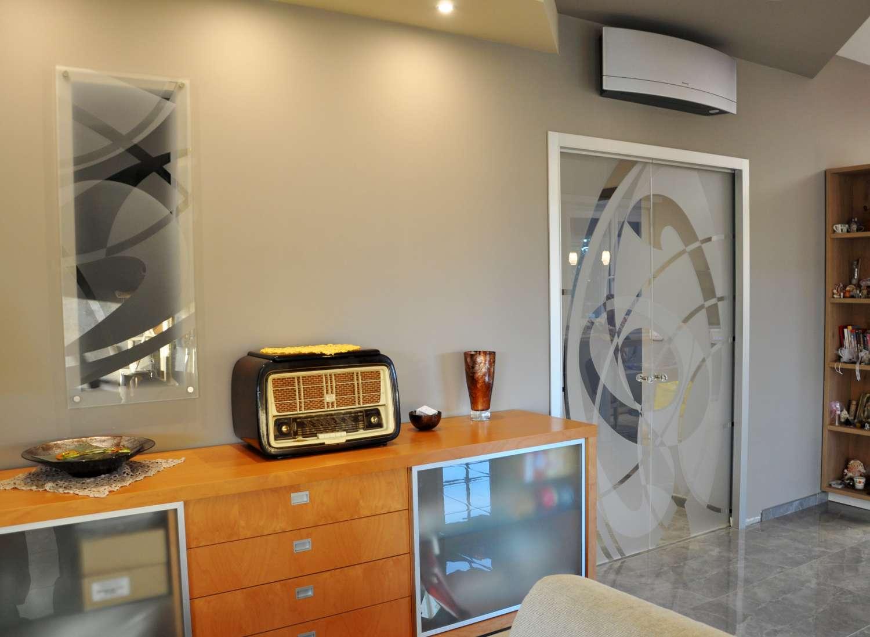 Doppia porta vetro trasparente extrachiaro Light alluminio decoro Chevrier a doppia sabbiatura polimerica 4 1500