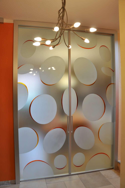 Doppia scorrevole interno muro MITIKA 45 alluminio vetrate con decoro bolle vetro satinato maniglie X11 (3)-1500