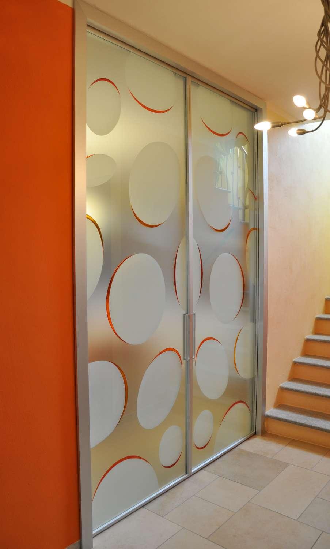 Doppia scorrevole interno muro MITIKA 45 alluminio vetrate con decoro bolle vetro satinato maniglie X11 (5)-1500