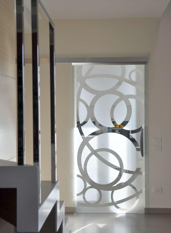 Porta cristallo Light acciaio scorrevole trasparente decoro Circle maniglia X90-1500