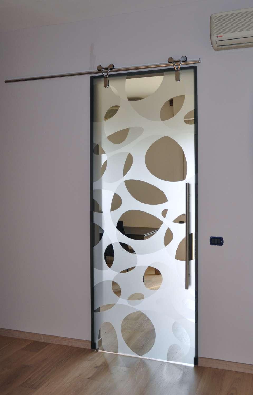 Porta vetro Logika scorrevole esterno muro decoro elastic double su vetro fumè-1500