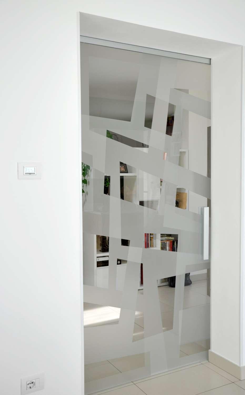 Porta vetro scorrevole esterno muro modello Light alluminio vetro trasparente extrachiaro decoro Angular double versione aperta (13)-1500