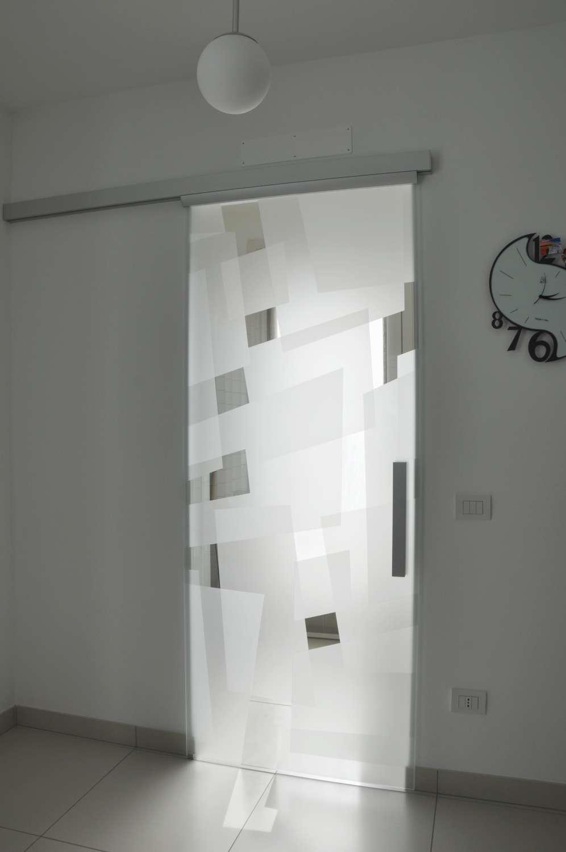 Porta vetro scorrevole esterno muro modello Light alluminio vetro trasparente extrachiaro decoro Angular double versione chiusa-1500