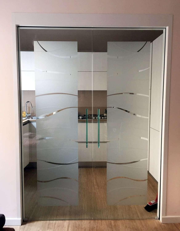 Porte vetro a scomparsa decoro onde-1500