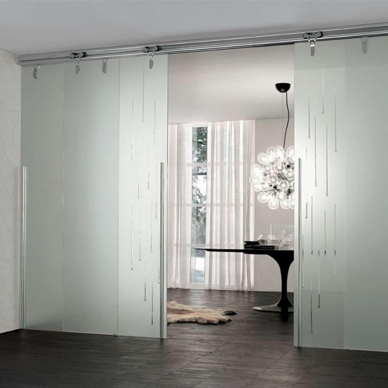 Mazzoli porte vetro porte vetro cristallo acidato scorrevoli sovrapposte sottoparete logika - Porte a tutta altezza scorrevoli ...